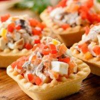 Салаты в тарталетках для Фуршета | Сыр/овощи/фрукты